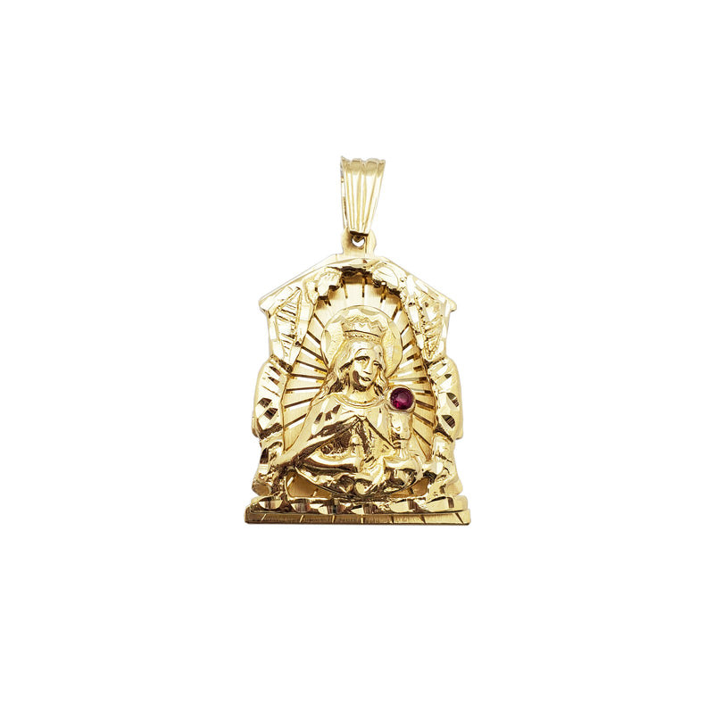 Santa Barbara with Red Stone Pendant (14K)