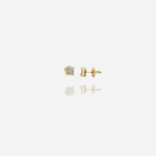 Yellow Gold Square Diamond Stud Earring (14K)