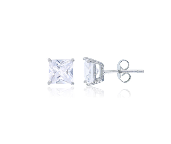 Square Cut CZ Solitaire Stud Earrings Set (Silver)
