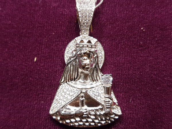Iced-Out Saint Barbara Pendant Silver - Lucky Diamond 恆福珠寶金行 New York City 169 Canal Street 10013 Jewelry store Playboi Charlie Chinatown @luckydiamondny 2124311180