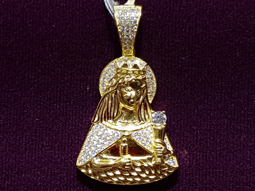 Iced-Out Santa Barbara Pendant Silver - Popular Jewelry