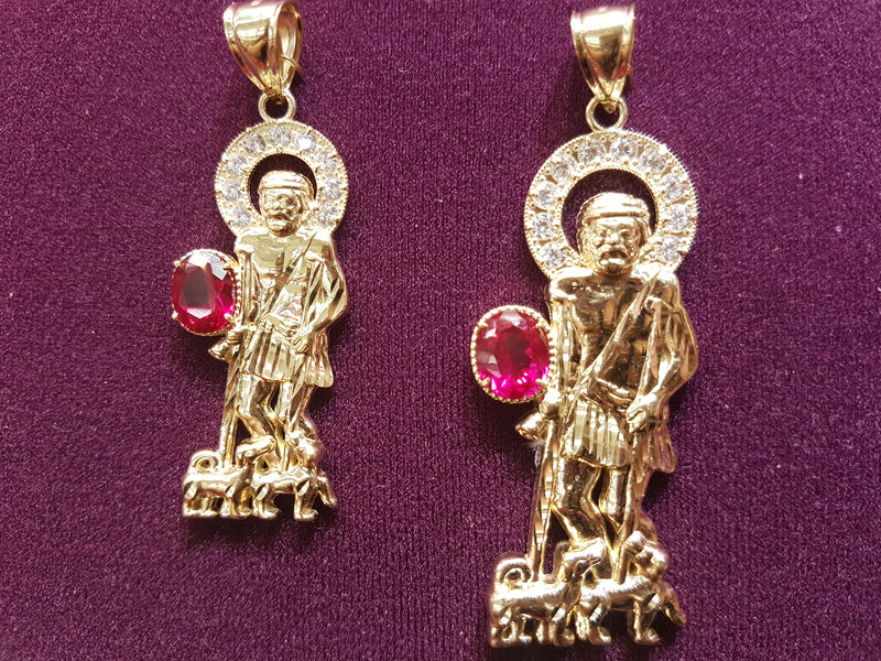 Saint Lazarus Red Gem Pendant (10K & 14K) - Lucky Diamond 恆福珠寶金行 New York City 169 Canal Street 10013 Jewelry store Playboi Charlie Chinatown @luckydiamondny 2124311180
