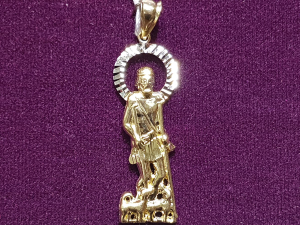 Saint Lazarus White Halo Pendant 14K - Popular Jewelry