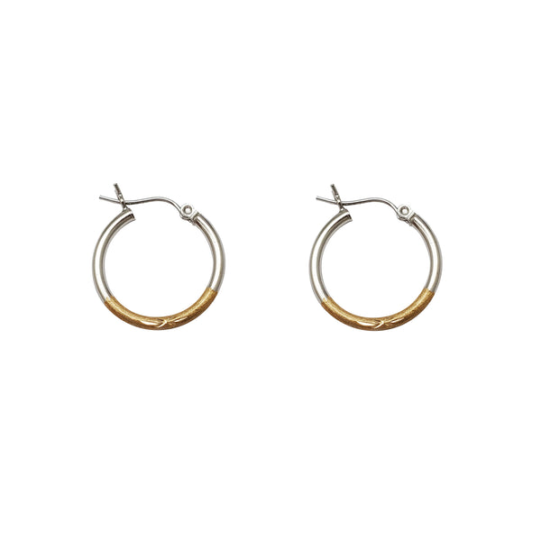 Sandblaster-Polished Two-Tone Hoop Earrings (14K) Popular Jewelry New York