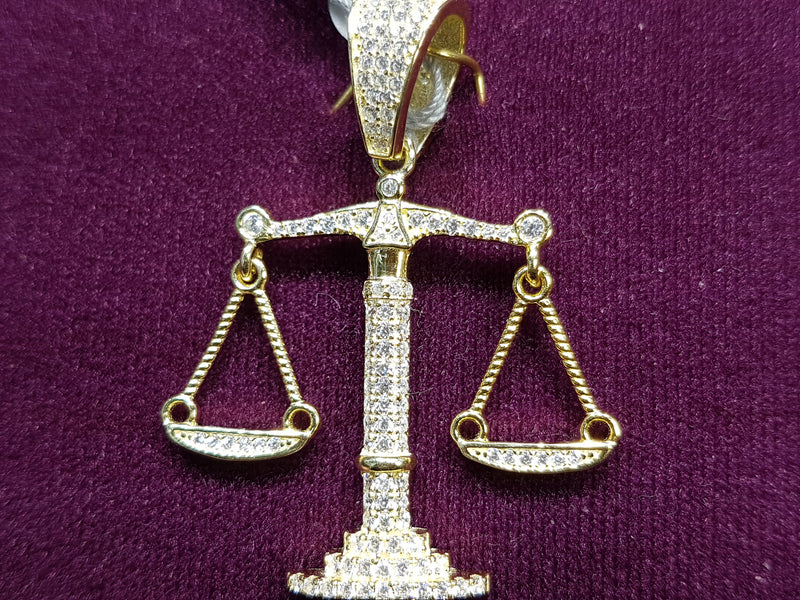 Iced Out Balance Scales Pendant Silver - Lucky Diamond 恆福珠寶金行 New York City 169 Canal Street 10013 Jewelry store Playboi Charlie Chinatown @luckydiamondny 2124311180