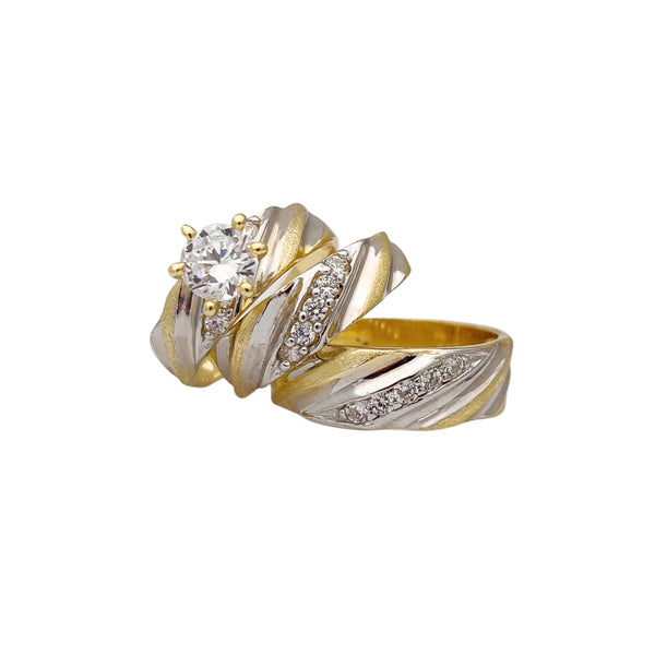 Semi-Brushed Finish Three-Piece-Set Rings (14K) Popular Jewelry New York