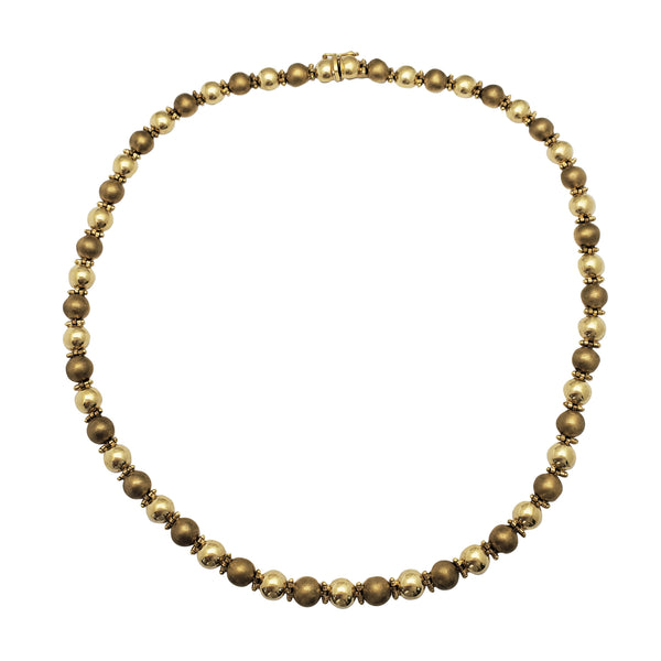 Semi-Satin Finish Ball Fancy Necklace (14K) Popular Jewelry New York