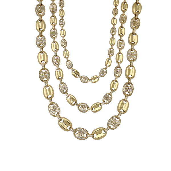 Semi Iced-Out Puffy Gucci CZ Chain (14K) Popular Jewelry New York