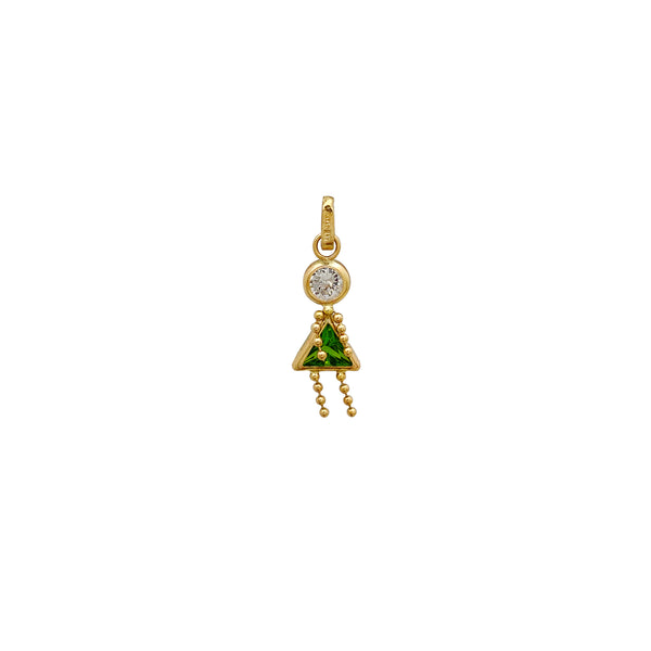 Silhouette Green & White Stone Little Girl Pendant (14K) Popular Jewelry New York