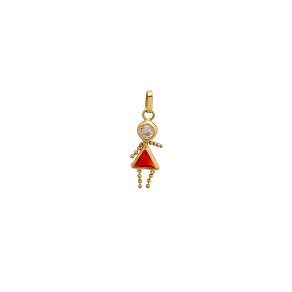 Silhouette Red & White Stone Little Girl Pendant (14K) Popular Jewelry New York
