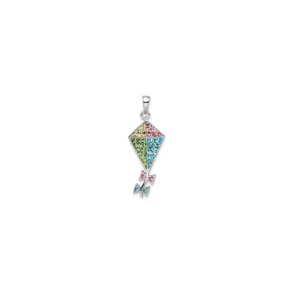 Bedazzled Colorful Kite Pendant (Silver) front - Popular Jewelry - New York
