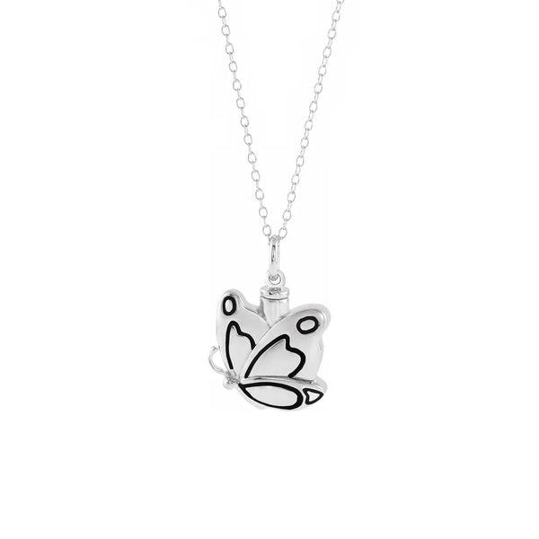 Butterfly Contoured Ash Holder Necklace (Silver) front - Popular Jewelry - New York