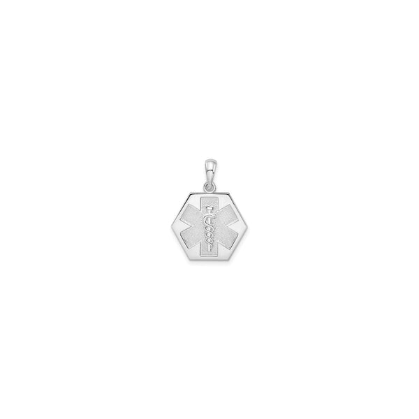 Caduceus Hexagon Medical Pendant (Silver) front - Popular Jewelry - New York
