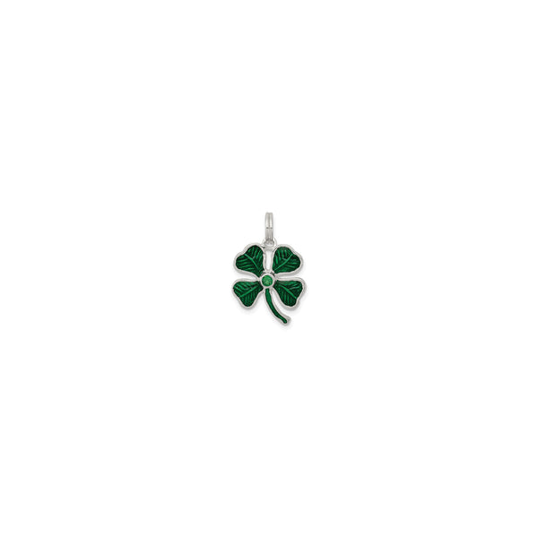 Evergreen Clover Charm (Silver) front - Popular Jewelry - New York