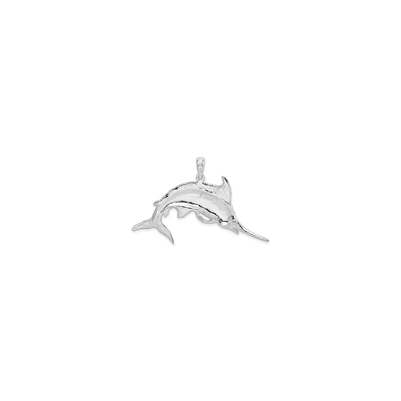 Jumping Marlin Fish Pendant Small (Silver) back - Popular Jewelry - New York