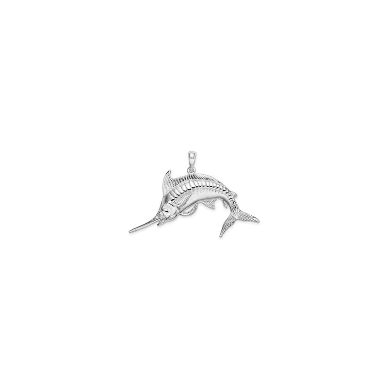 Jumping Marlin Fish Pendant Small (Silver) front - Popular Jewelry - New York
