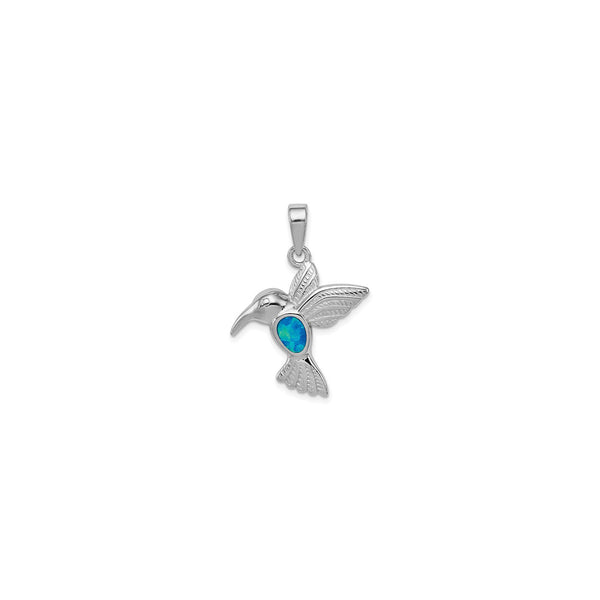 Opal Inlay Hummingbird Pendant (Silver) front - Popular Jewelry - New York