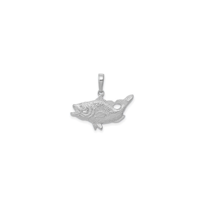 Open Mouth Bass Fish Pendant (Silver) front - Popular Jewelry - New York