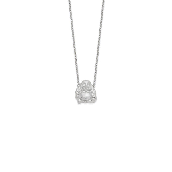 Smiling Buddha Necklace (Silver) front - Popular Jewelry - New York