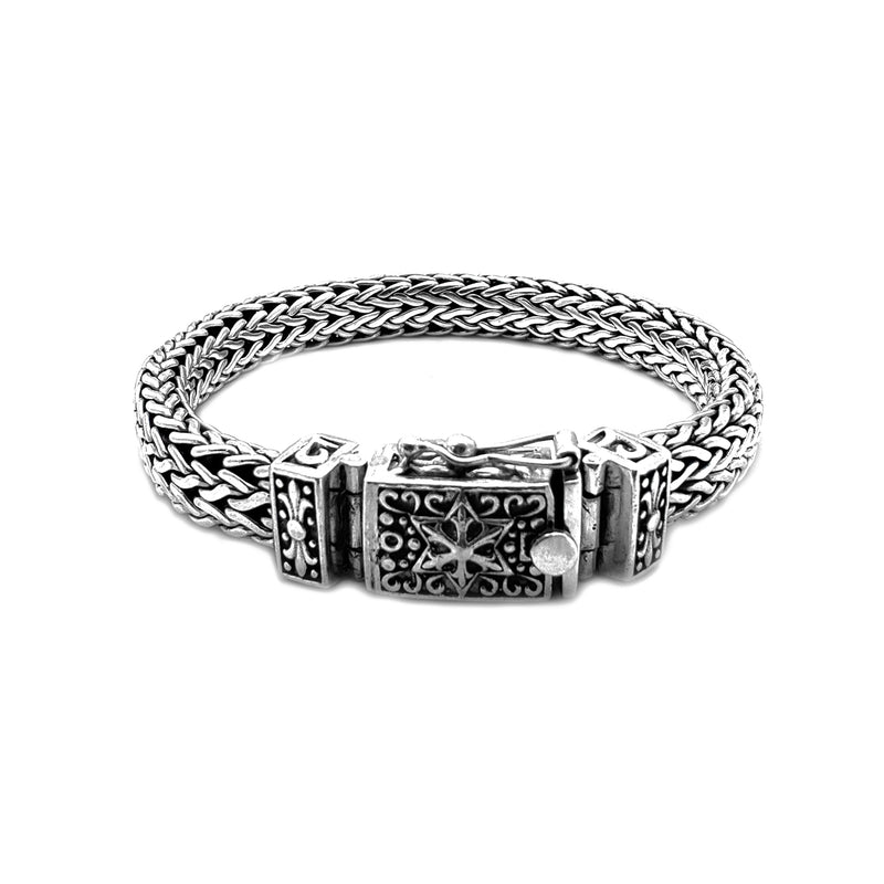 Silver Vintage Braided Mesh North Star Bracelet (Silver) Popular Jewelry New York