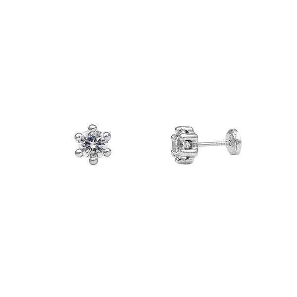 Six-Prong Zirconia Stud Earrings (14K)