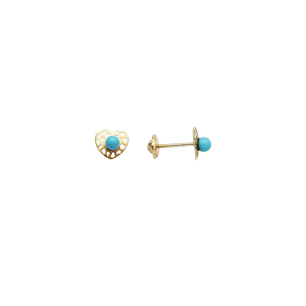 Sky Blue Ball Heart Stud CZ Earrings (14K)