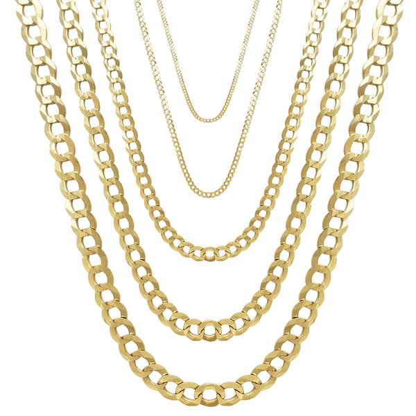 Solid Italian Cuban/ Open Curb Chain (14K)