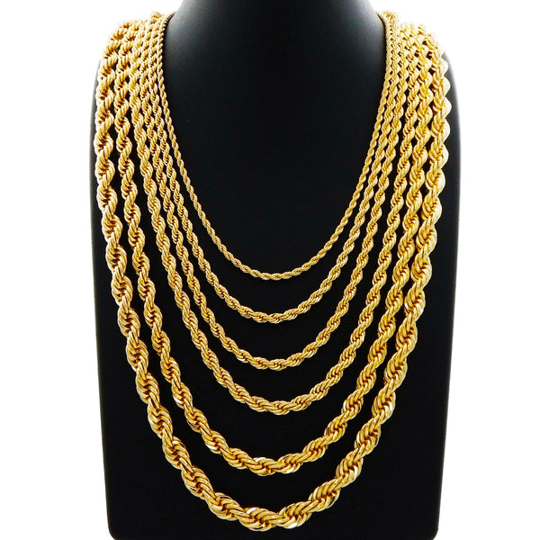 Solid Diamond Cut Rope Chain (14K)