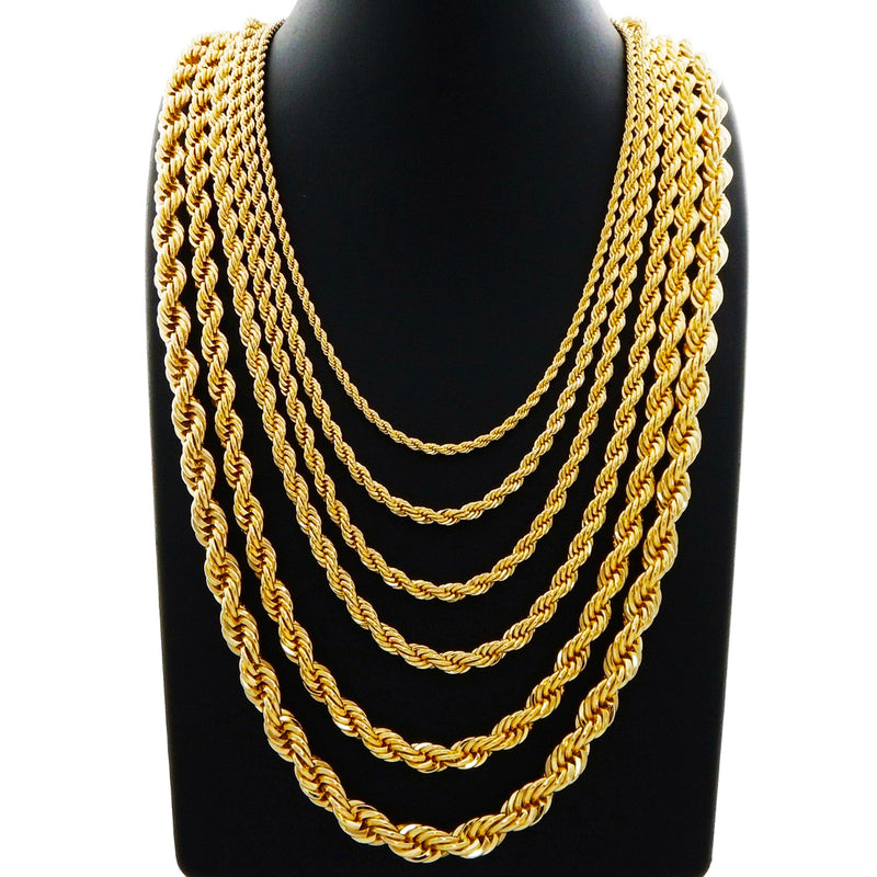 Solid Diamond-Cut Rope Chain (14K)