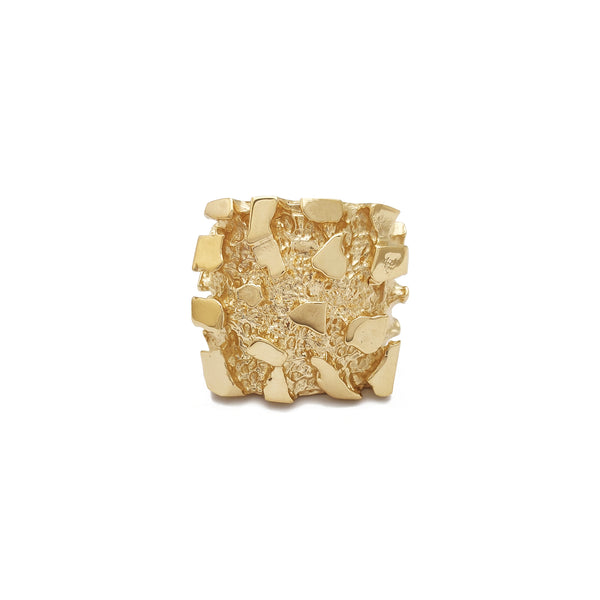 Solid Square Nugget Ring (14K) Popular Jewelry New York