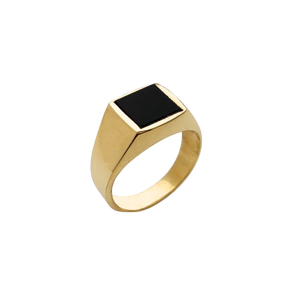 Square Black Onyx Signet Ring (14K) Popular Jewelry New York