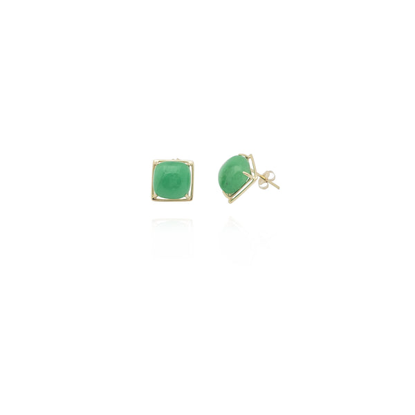 Square Jade Earrings (14K) New York Popular Jewelry