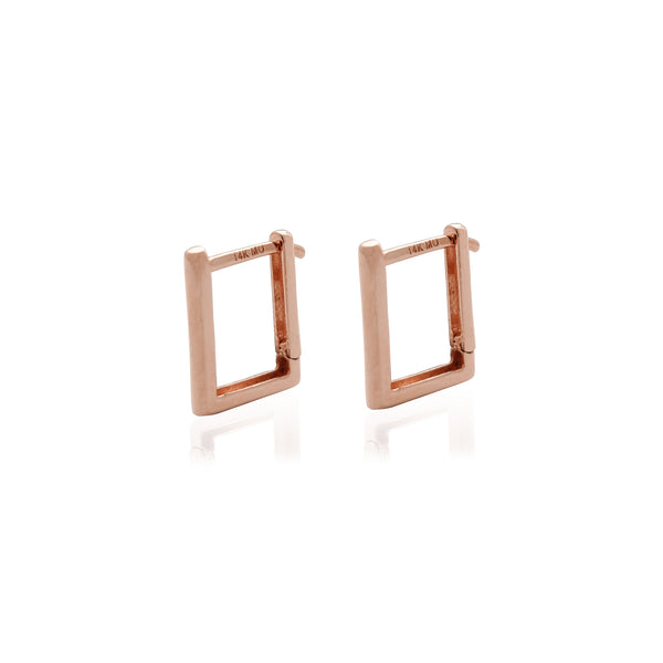 Square Shape Huggie Earrings Rose Gold (14K) Popular Jewelry New York