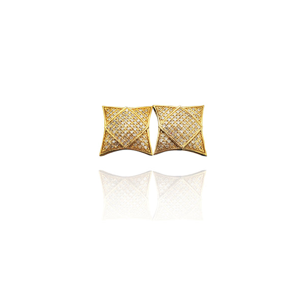 Diamond Square-on-Cushion Stud Earrings (10K)