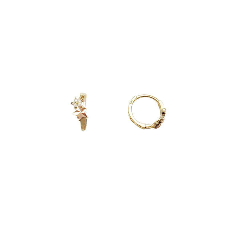 Star CZ Huggie Earrings (14K)