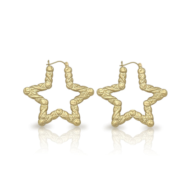 Pendientes de bambú XO en forma de estrella (10K) Popular Jewelry New York