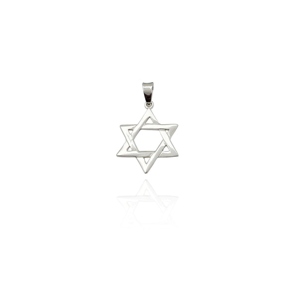 Płaski wisiorek Star of David (srebrny) Nowy Jork Popular Jewelry