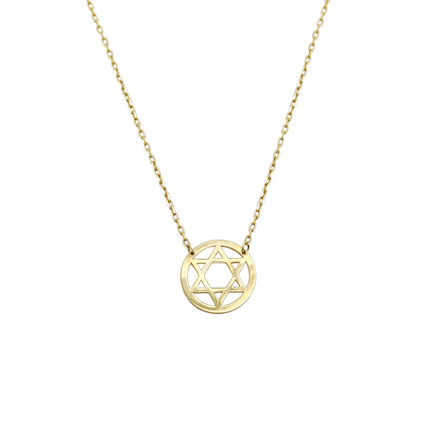 Star of David Medallion Necklace (14K) Popular Jewelry Nýja Jórvík