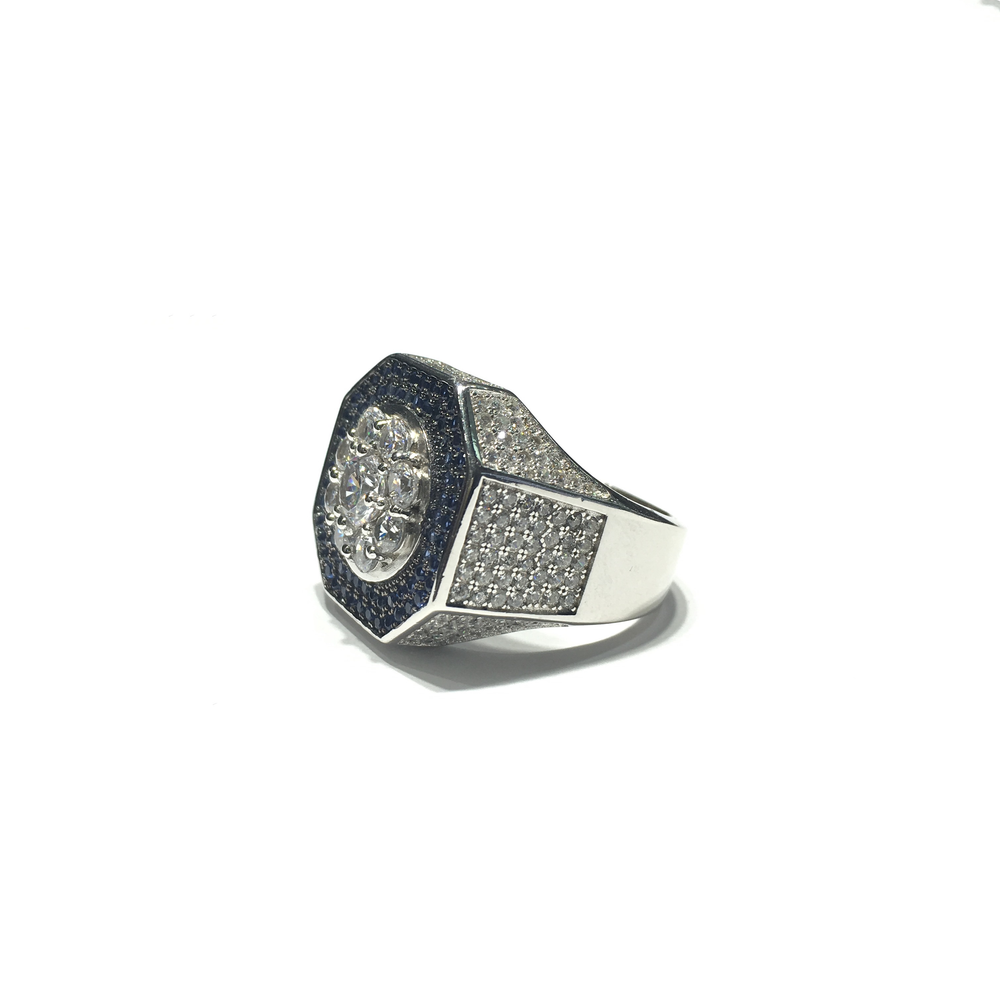 Iced-Out Octagonal CZ Statement Ring (Silver) side - Popular Jewelry - New York