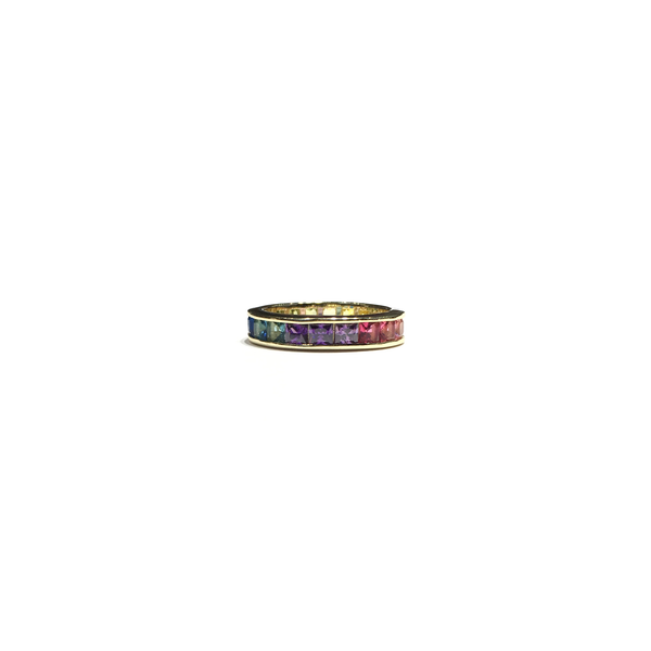 Multi-Color CZ Eternity Band (Silver) yellow front 1 - Popular Jewelry - New York