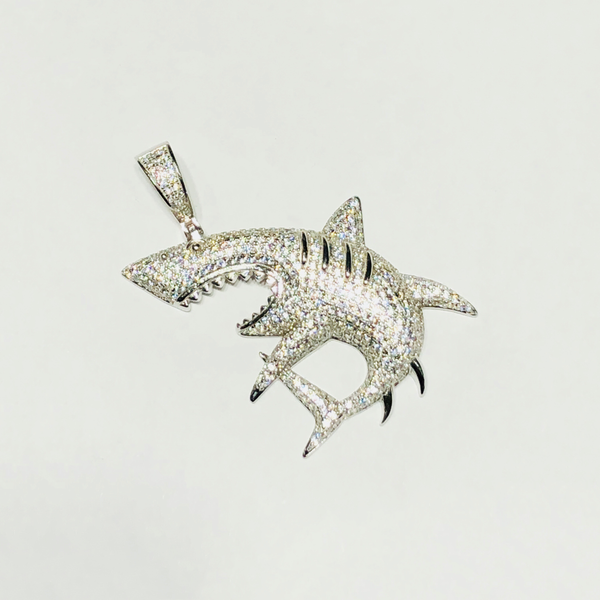 White Shark CZ Pendant (Silver) - Popular Jewelry New York