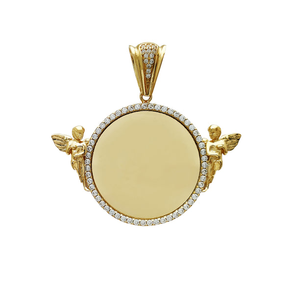 Stone-Set Angels Round Medallion Memorial Picture Pendant (14K) Popular Jewelry New York