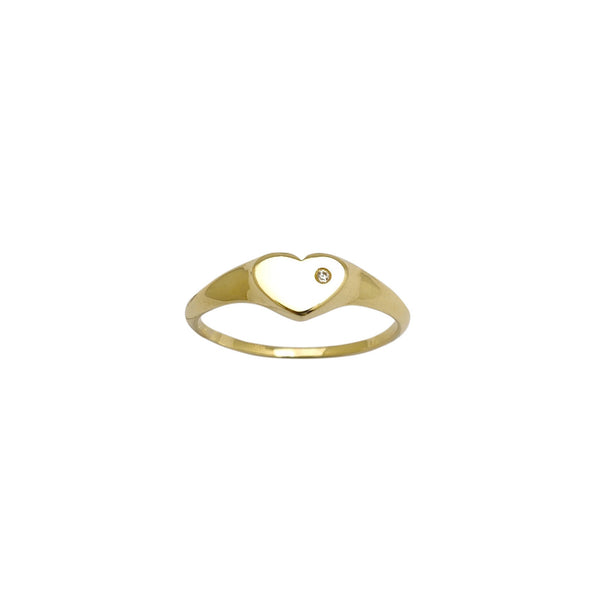 Stone-Set Heart Signet Ring (14K) Popular Jewelry New York