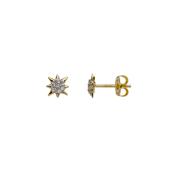 CZ Cluster North Star Stud Earrings (14K)