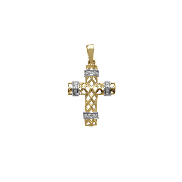 Stone-Set Outlined Patterns Cross Pendant (14K) Popular Jewelry New York