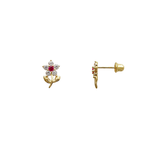 Stone-Set Red Flower Stud Earrings (14K) Popular Jewelry New York