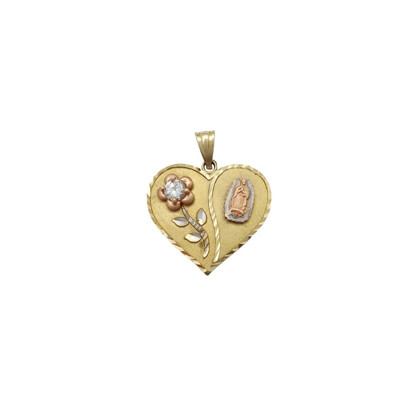 Steinsett Rose Virgin Mary Heart Hengiskraut (14K) Popular Jewelry Nýja Jórvík