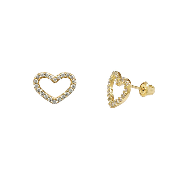 Stone-Set Silhouette Heart Stud Earrings (14K) Popular Jewelry New York