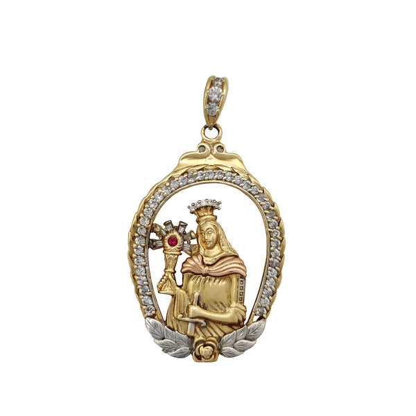 Stone-set Framed Saint Barbara Pendant (14K) Popular Jewelry New York