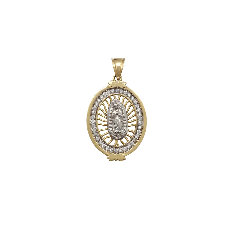 Stone-set Virgin Mary Oval Medallion Pendant (14K) Popular Jewelry New York